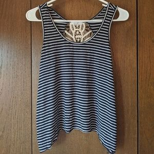 Striped tank with croqueted back